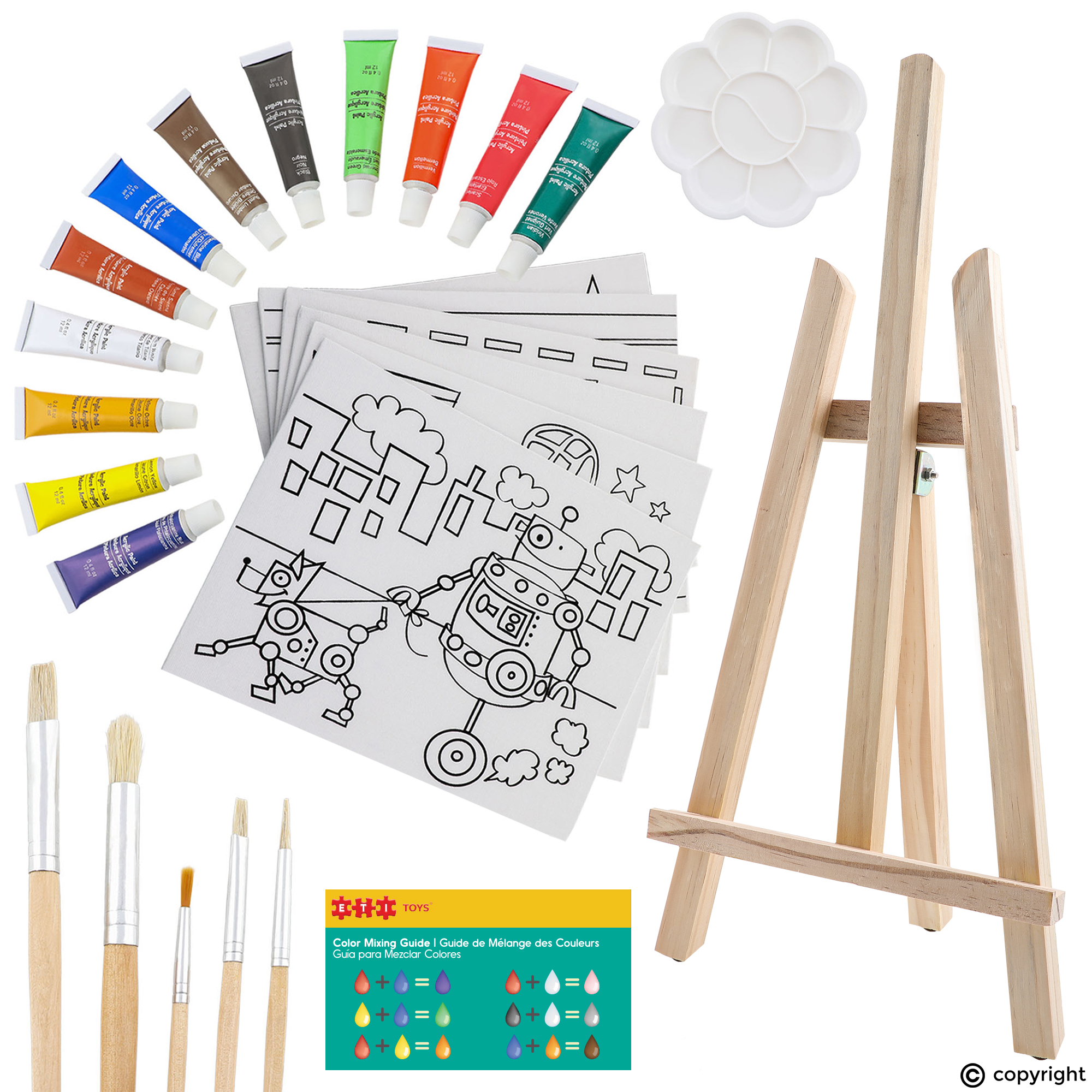 Eti Toys Play And Learn 26 Piece Kids Canvas Painting Set