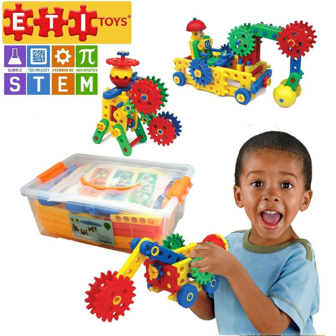 ETI Toys   Play and Learn   Ultimate Blocks and Gears 109 piece
